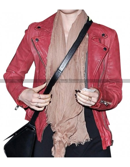 Lily Collins Spider Man 2 Biker Jacket