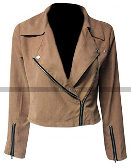 Womens Brown Suede Moto Jacket