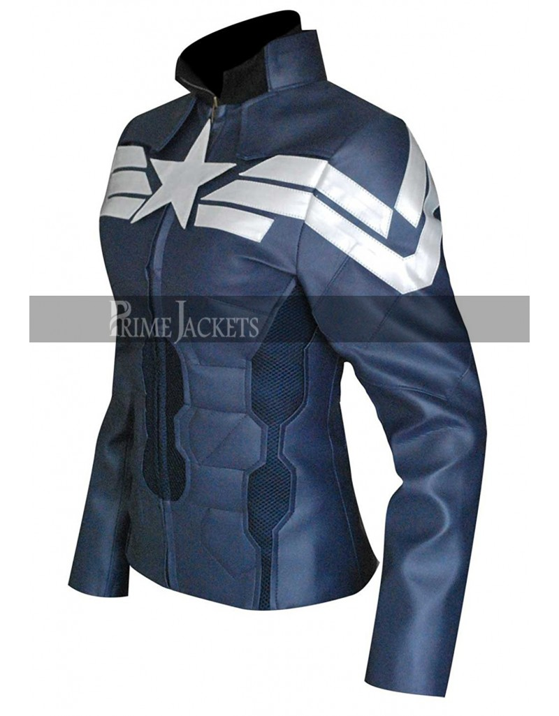 Captain America Winter Soldier Women Blue Costume Jacket