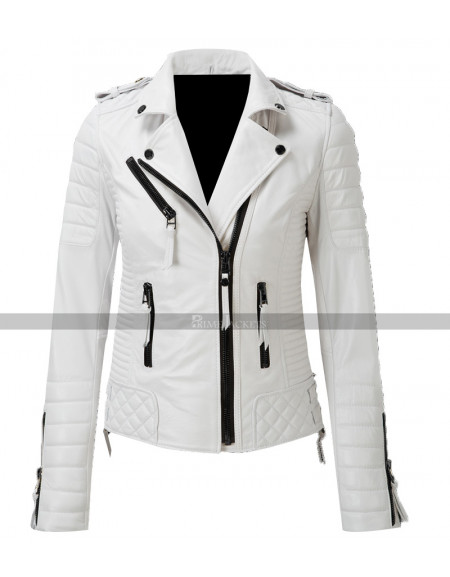 Women Quilted White Leather Jacket