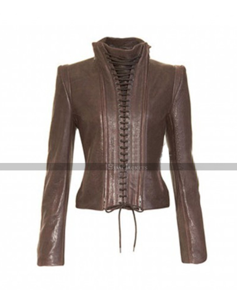 Women S Vintage Style Lace Up Brown Leather Jacket
