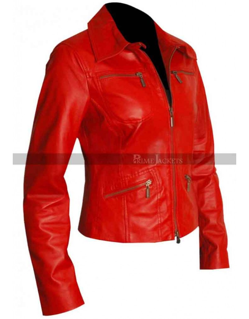 Red Women's Slim Fit Motorcycle Leather  Jacket