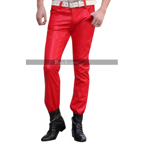 Men's Red Leather Pants